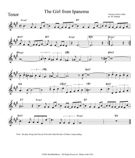 "Sheet Music: ""The Girl from Ipanema"" by Matt Dudack, Lead Sheets ..."